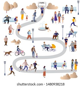 Women, men, parents and children, people with disabilities, elderly and young people spend time outdoors:  jogging, walking , chatting, riding bicycles, walking with dogs .  Flat  vector illustration