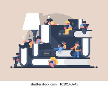 Women and men read books. Book festival fair. Vector illustration