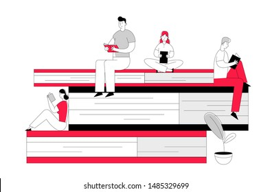 Women and Men Reading in Library Sitting on Huge Pile of Books. Young People Students Spend Time in Athenaeum Prepare for Examination Characters in Literature Storage Cartoon Flat Vector Illustration