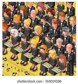 Women and men singing classical music in a choir (isometric cartoon)