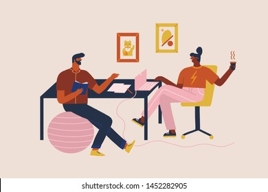 Women and men sitting at a desk working online on a laptop in co working space or modern office and drinking cup of coffee and chatting. Freelance worker illustration in vector.