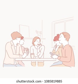 Women and men talking with coffee. hand drawn style vector doodle design illustrations.