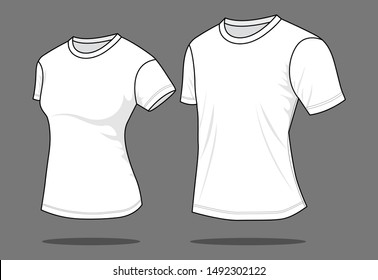 Women & Men White T-Shirt for Template : Perspective View