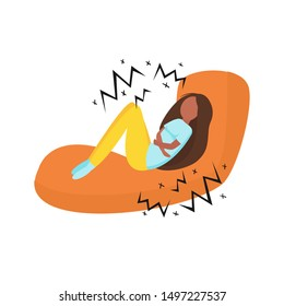 Women menstruation pain vector concept. Young African American woman lies on the couch and feel sick. Menstrual pain illustration. Symptoms of pms pain.