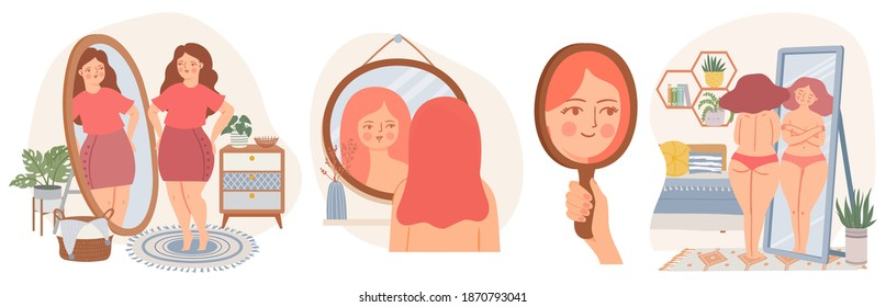 Women with mirrors. Confident young female look at reflection in mirror. Self acceptance concept. Girls in scandinavian interior vector set. Happy carefree overweight lady loving her body,