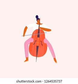 Women musician playing violoncello cartoon funny illustration in vector. Women professions collection.