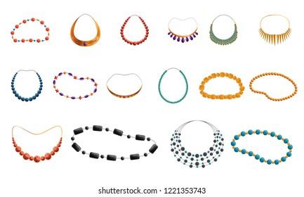Women necklace beads icon set. Cartoon set of women necklace beads vector icons for web design