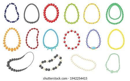 Frauenkette, Vektorgrafiken-Set. Kollektion von modischen Halsketten aus Gold, Silber, Perle, Perlen auf weißem Hintergrund. Schönheit, Schmuck, Accessoires-Konzept für Webdesign