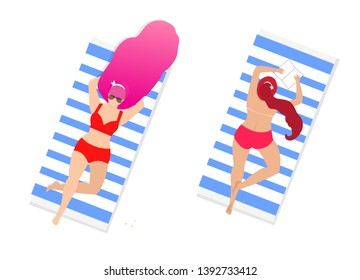 Women on Beach Set Isolated on White Background. Couple of Young Girls in Red Sexy Swim Suits Relaxing Lying on Back and Belly on Towels. Topless Sunbathe Cartoon Flat Vector Illustration, Clip Art
