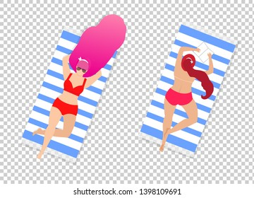 Women on Beach Set Isolated on Transparent Background. Couple of Young Girls in Sexy Swim Suits Relaxing Lying on Back and Belly on Towels. Topless Sunbathe Cartoon Flat Vector Illustration, Clip Art