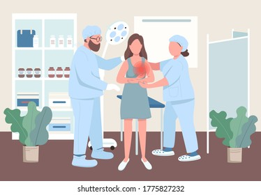 Women oncology flat color vector illustration. Breast cancer clinic treatment. Woman visit hospital for examination. Doctors with female patient 2D cartoon characters with interior on background