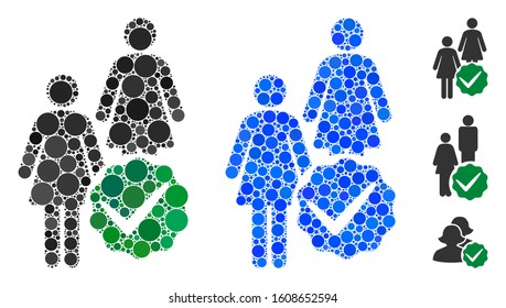 Women only mosaic of small circles in variable sizes and color tones, based on women only icon. Vector round dots are grouped into blue mosaic. Dotted women only icon in usual and blue versions.