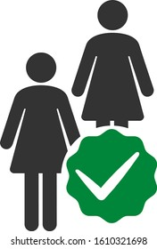 Women only vector icon. Flat Women only symbol is isolated on a white background.