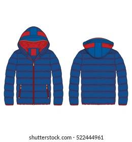 Women Outdoor Puffer Jacket Vector Template