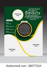 women parlor flyer & magazine template design vector illustration