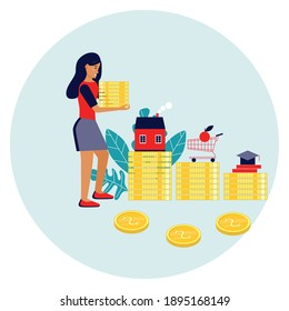 Women planning finances and savings for family budget. Bringing coins. Expenses. Budget planning. Financial literacy. Finance management. Financial Stability. Save Money. Safety cushion in a crisis.