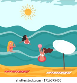 Women playing ball in water, summer leisure activity, people on vacation at sea or ocean, vector illustration. Happy girl in ocean waves play ball, cartoon character active sport player woman vacation