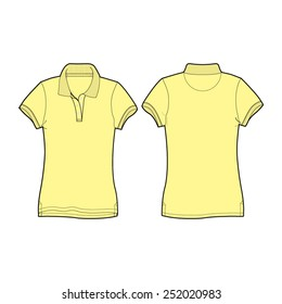 Women Polo Neck T Shirt Slim Fit Vector Template