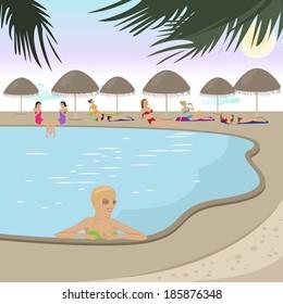 Resort pool stock vectors images vector art shutterstock for Pool design graphic