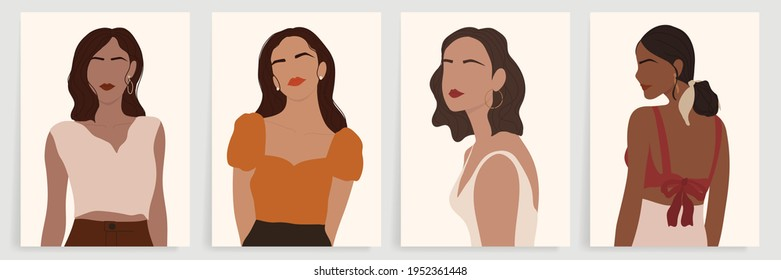 Women Portrait abstract art background vector. Surreal faces stylish girls in trendy clothes with different post. wall art design collection. Set off modern female avatars vector illustration.