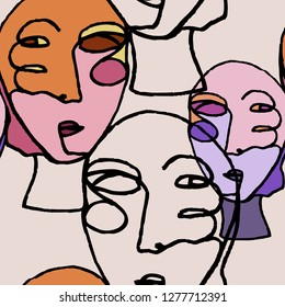 Women portraits in modern abstract style. Hand drawn vector seamless pattern for your contemporary fashion design