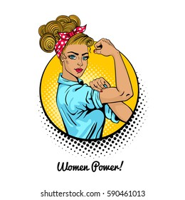 Women Power. Pop art sexy blonde girl in a circle on white background. Classical american symbol of female power, woman rights, protest, feminism. Vector colorful illustration in retro comic style