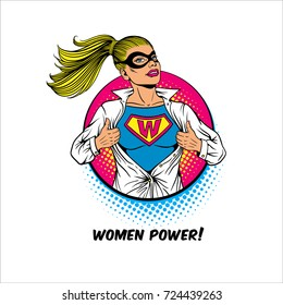 Women Power. Pop art sexy blonde woman in mask shows superhero t-shirt with W sign on chest in circle on white background. Female power, rights, feminism. Vector  illustration in retro comic style.