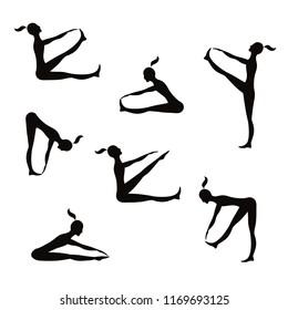 Women practice gymnastics. Black silhouette. Vector images.