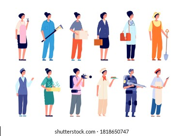 Women in profession. Female group professionals, diverse lady worker characters. Business career, girl plumber military scientist vector set