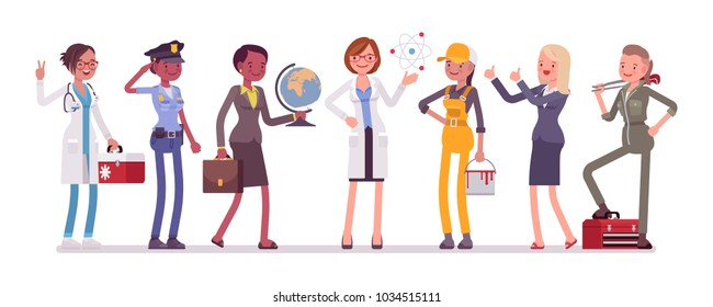 Women professions set. Female collection of occupation, training and qualification poster, choice to make after school or college. Vector flat style cartoon illustration isolated on white background