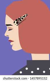 Women profile with short red hair and leopard barrette and hairpin fashion vector illustration