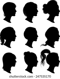 Women Profile Silhouettes - Vector Illustration