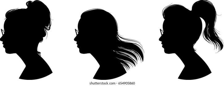 Women Profile Silhouettes, Wearing Glasses, Vector Illustration