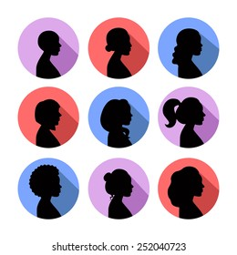 Women profiles silhouettes vector icon set. Black on the color badges.