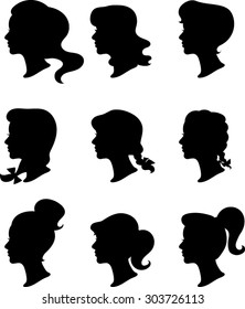 Women Profiles - Silhouettes - Vector Illustration