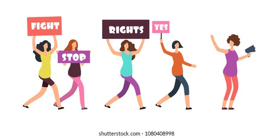 Women protesters walking on manifestation. Feminism, womens rights and protest vector concept. Illustration of woman demonstration and protest, walking with banner and poster