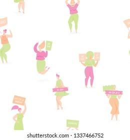 Women protesting with placards, vector seamless design