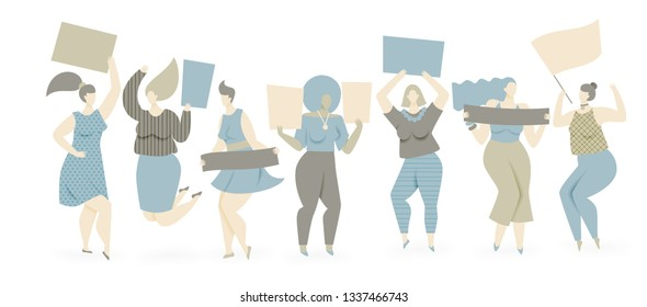 Women protesting with placards, vector womens day concept