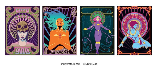 Women Psychedelic Art Style Posters, 1960s, 1970s Rock Music Album Covers Style