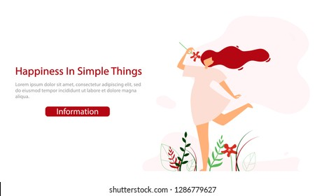 Women Psychological Consultation Flat Vector Web Banner. Young Happy Lady Holding Flower, Enjoying Life Illustration. Motivation, Positive Thinking and Open Ming Practice Course Landing Page Template