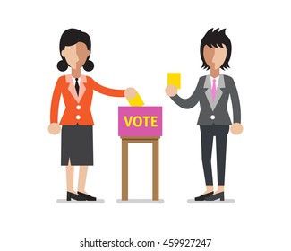 Women putting voting papers in the ballot box