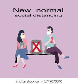 Women read a book and men  hold mobile phone are spaced sitting for social distancing in new normal.