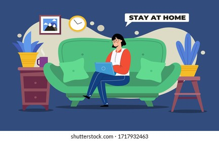 Women reading a news on a laptop at home, stay at home concept illustration.