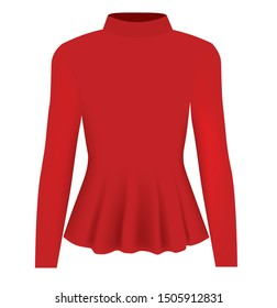 Women red blouse long neck. vector