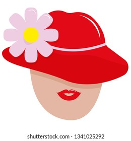 Women with red hat. Portrait