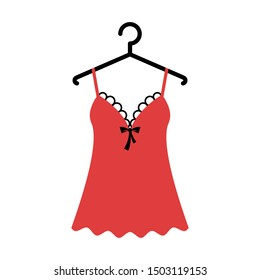 Women red nightgown lace on the hanger. Isolated vector illustration