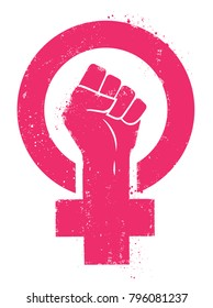 Women resist symbol. Woman fist vector illustration. Isolated background.