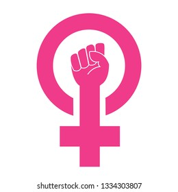 Women resist symbol. Woman raised fist right hand vector illustration isolate on white background.