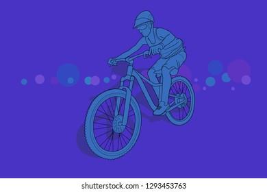 Women riding a mountain bike