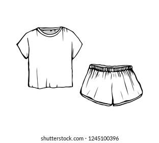 Women s fashion Sleepwear. drawing Pajamas.white shorts and t-shirt. Vector sleepwear isolated illustration.